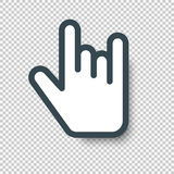 Rock On Hand Sign Cursor Icon. Vector illustration with Royalty Free Stock Photo