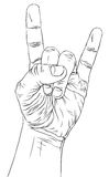 Rock on hand sign, detailed vector illustration. Stock Photography