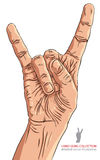 Rock on hand sign, detailed vector illustration. Stock Photos