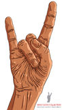 Rock on hand sign, rock n roll hand symbol. Stock Images