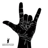 Rock on hand sign, rock n roll, hard rock, heavy metal, music, d. Etailed black and white vector illustration Royalty Free Stock Images
