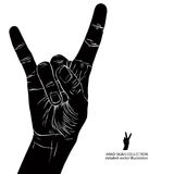 Rock on hand sign, rock n roll, hard rock, heavy metal, music, d. Etailed black and white vector illustration Royalty Free Stock Photography