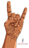 Rock on hand sign, rock n roll, hard rock, heavy metal, music, d. Etailed lines vector illustration, hand drawn Stock Image