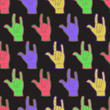 Rock hands coloful seamless pattern. Stock Photo