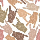 Rock hands seamless pattern, rock, metal, rock and roll music st Stock Photos
