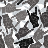 Rock hands seamless pattern, rock, metal, rock and roll music st Royalty Free Stock Images