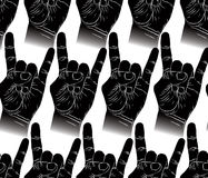 Rock hands seamless pattern, rock, metal, rock and roll music  Royalty Free Stock Photos