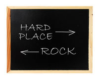 Rock, hard place Stock Image