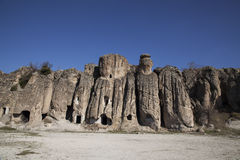 Rock-hewn churches. The rock-hewn churches in klistra , turkey Royalty Free Stock Photography