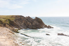 Rock Hill on coast line. In Portugal Royalty Free Stock Photo