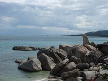 The rock Hin Ta Hin Yai at Samui island, Thailand.  stock photo