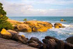 Sunset Rock Hin Ta and Hin Yai from Thailand Island of Koh Samui. The Rock Hin Ta and Hin Yai from Thailand Island of Koh Samui. The picturesque pile of rocks on royalty free stock image