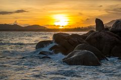 Sunset Rock Hin Ta and Hin Yai from Thailand Island of Koh Samui. The Rock Hin Ta and Hin Yai from Thailand Island of Koh Samui. The picturesque pile of rocks on royalty free stock images