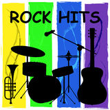 Rock Hits Means Acoustic Soundtrack And Charts. Rock Hits Representing Sound Track And Pop Stock Photography