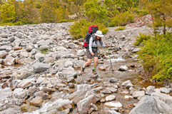 Rock Hopping a Wilderness Creek Royalty Free Stock Photos
