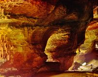 Rock House in Hocking Hills State Park. In Ohio at sunrise Royalty Free Stock Image