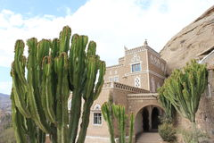 The Rock House Yeman. Rock House side building with Cactus drop Stock Images