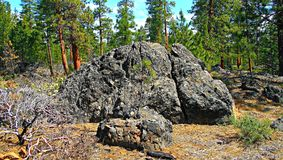 Rock Hump. Rock formation in the ponderosa forest west of Sisters, OR stock photo