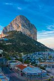 Rock of Ifach, marina and shops royalty free stock photos