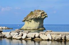 Rock Il fungo - Lacco Ameno. Lacco Ameno beach on Ischia island in Italy Stock Images