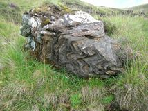 Bizarre looking single ancient rock sitting in Green Hills at Glenshee Valley, Grampian Mountains, Scotland. A rock with interesting geological features sitting Royalty Free Stock Images