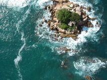 Rock island from Above in the middle of Pacific Ocean near Acapulco, Mexico stock images