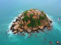 Rock island from Above in Pacific Ocean near Acapulco, Mexico. Rock island in the middle of Pacific ocean near Acapulco Bay Aerial Top View, Mexico Stock Photography