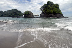 Rock island at the beach. In National Parc Manel Antonio Costa Rica Stock Images