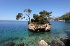 Rock island in Brela, Croatia Stock Photos