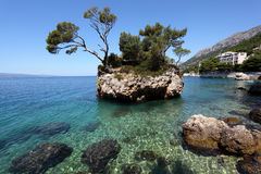 Rock island in Brela, Croatia Stock Photos