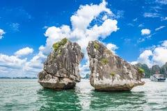 Rock island at Ha Long Bay in Vietnam. royalty free stock photos
