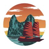 Rock island and red ship at Ha long bay famous landmark of Vietnam and ASEAN ,for cloth and web design,vintage color. Vector illustration royalty free illustration