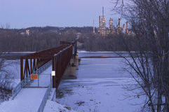 Rock Island Swing Bridge and Refinery Stock Photos