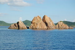 Rock islands. Rocky formations jutting out of the ocean.  British Virgin Islands Royalty Free Stock Photos