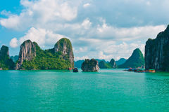 Rock islands in Halong Bay Stock Photography