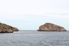 Rock islands near calanques coast, Marseille, France Royalty Free Stock Photo
