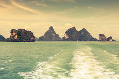 Rock islands in a Phang Nga Bay, Thailand View from boat. Stock Photo