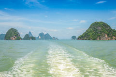 Rock islands in a Phang Nga Bay, Thailand View from boat. Royalty Free Stock Photo