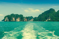 Rock islands in a Phang Nga Bay, Thailand View from boat. Royalty Free Stock Image