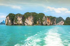 Rock islands in a Phang Nga Bay, Thailand View from boat. Stock Image
