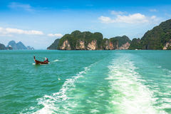 Rock islands in a Phang Nga Bay, Thailand View from boat. Royalty Free Stock Photography