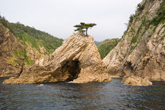 The rock and the islet. This is the rock and the islet in the sea near Tottori, Japan. A famous touristical plase royalty free stock images