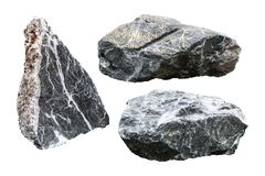 Rock isolated on white background. Granite stone with cutout. Clipping path royalty free stock image