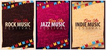Rock, Jazz, Indie Musik-Festival Geöffnete Luft Satz von Fliegerdesign Schablone mit Gekritzel des Handabgehobenen Betrages auf d vektor abbildung