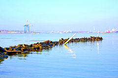 Rock Jetty In Harbor And Industry Royalty Free Stock Photos