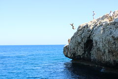Rock jumping  in beautiful Cyprus Royalty Free Stock Photos