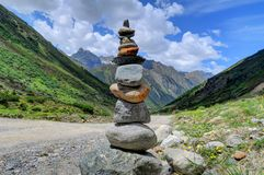 Rock Stack in Alpine Piztal Valley Stock Photos
