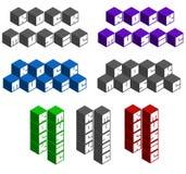 Rock kubieke vierkante doopvonten in verschillende kleuren Royalty-vrije Stock Afbeeldingen