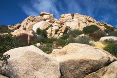 Rock Landscape Horizontal. Landscape looking up a rocky hill to the sky Royalty Free Stock Image