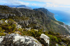 Rock and Landscape on Top of Table Mountain South Af Stock Image